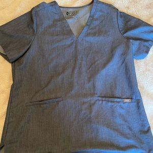 Women's XL heathered denim scrub top